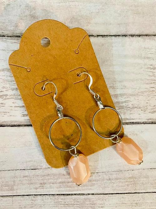 Small Hoop Peach Earrings