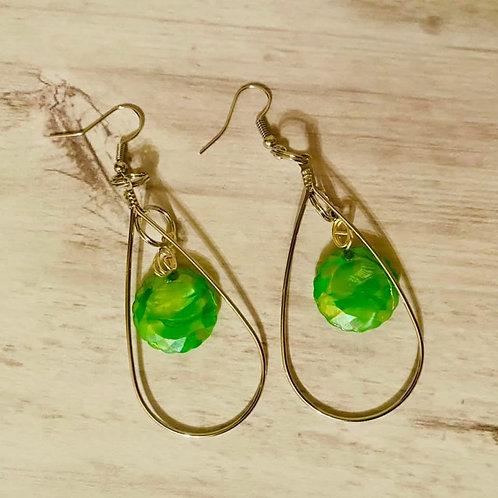 Tear Drop Green Earrings