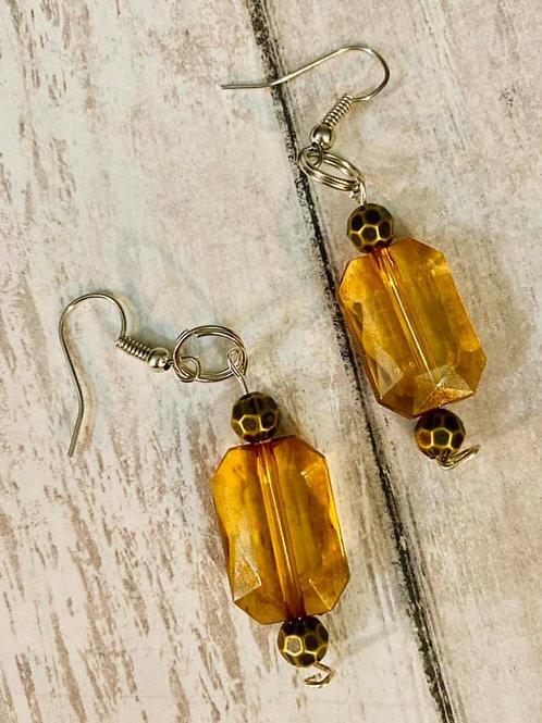 Light Brown Rectangle Earrings