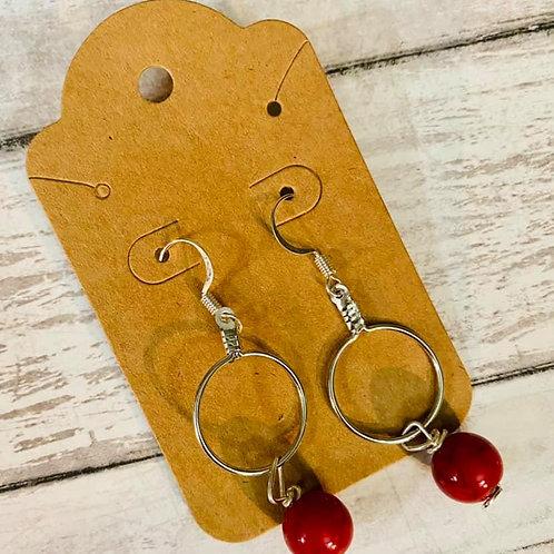 Small Hoop Red Earrings