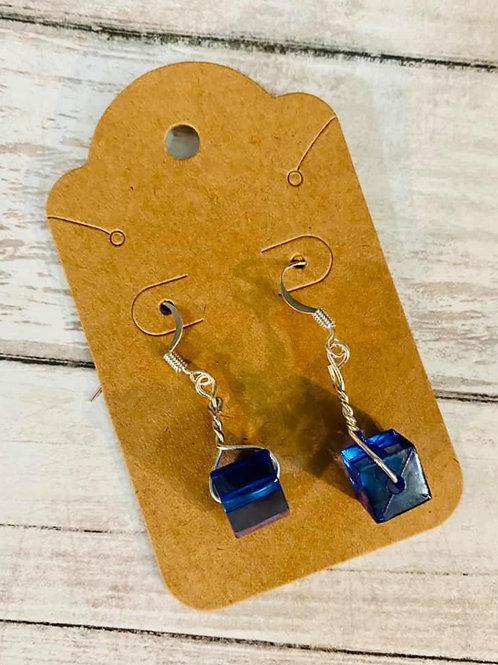 Navy Cube Earrings