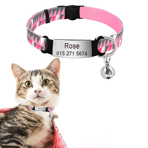 Zgardă Geometric Pink Triangles cu Medalion Personalizat, Clopoțel, Pisici