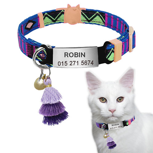 Zgardă Bohemian Mov cu Medalion Personalizat, Clopoțel, Pentru Pisici