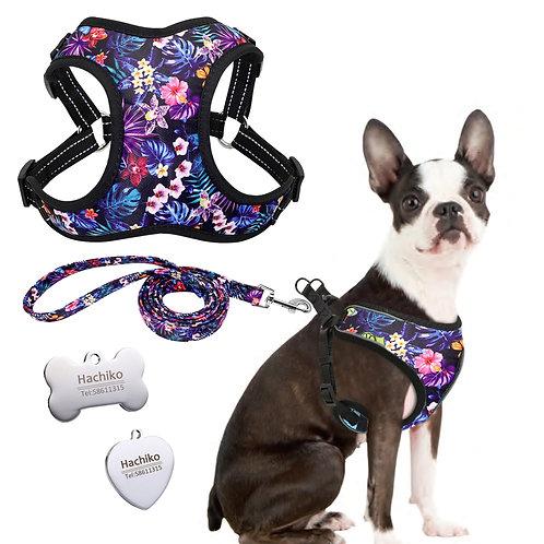 Set Lesă + Ham Purple Flowers, Tip Vestă, Pentru Câini