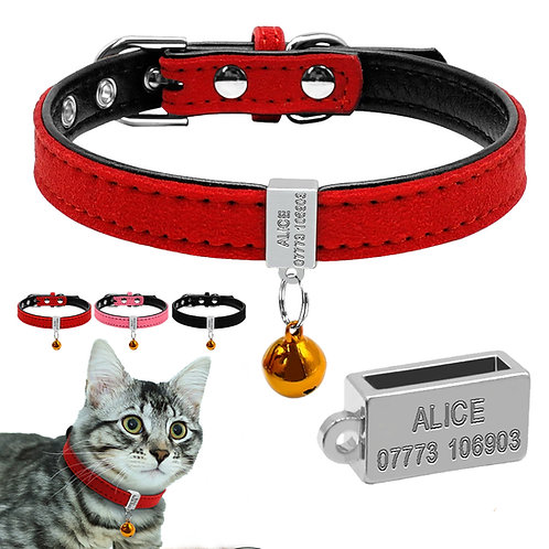 Zgardă Alice cu Plăcuță Verticală Personalizată, Clopoțel, Pentru Pisici
