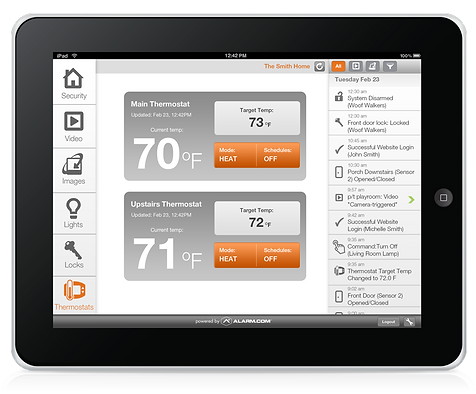 Alarm.com home security system ipad app