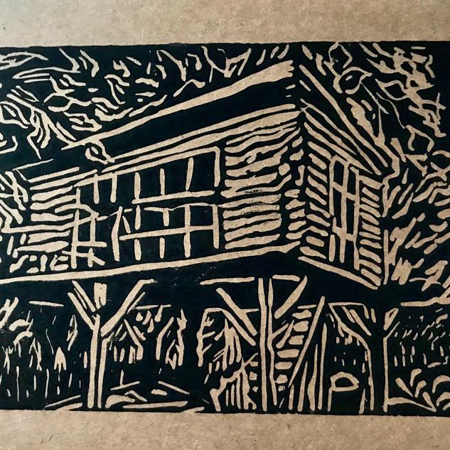 Lino cut print of the Treehouse Art Studio