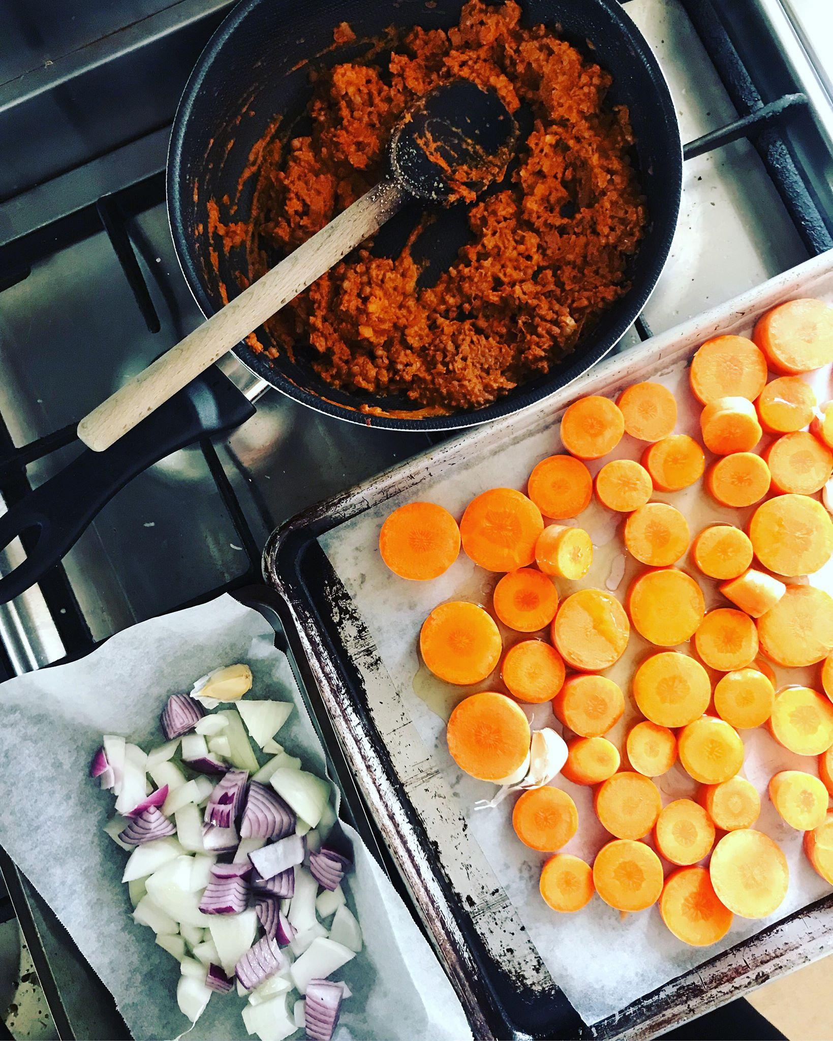 carrot soup prep