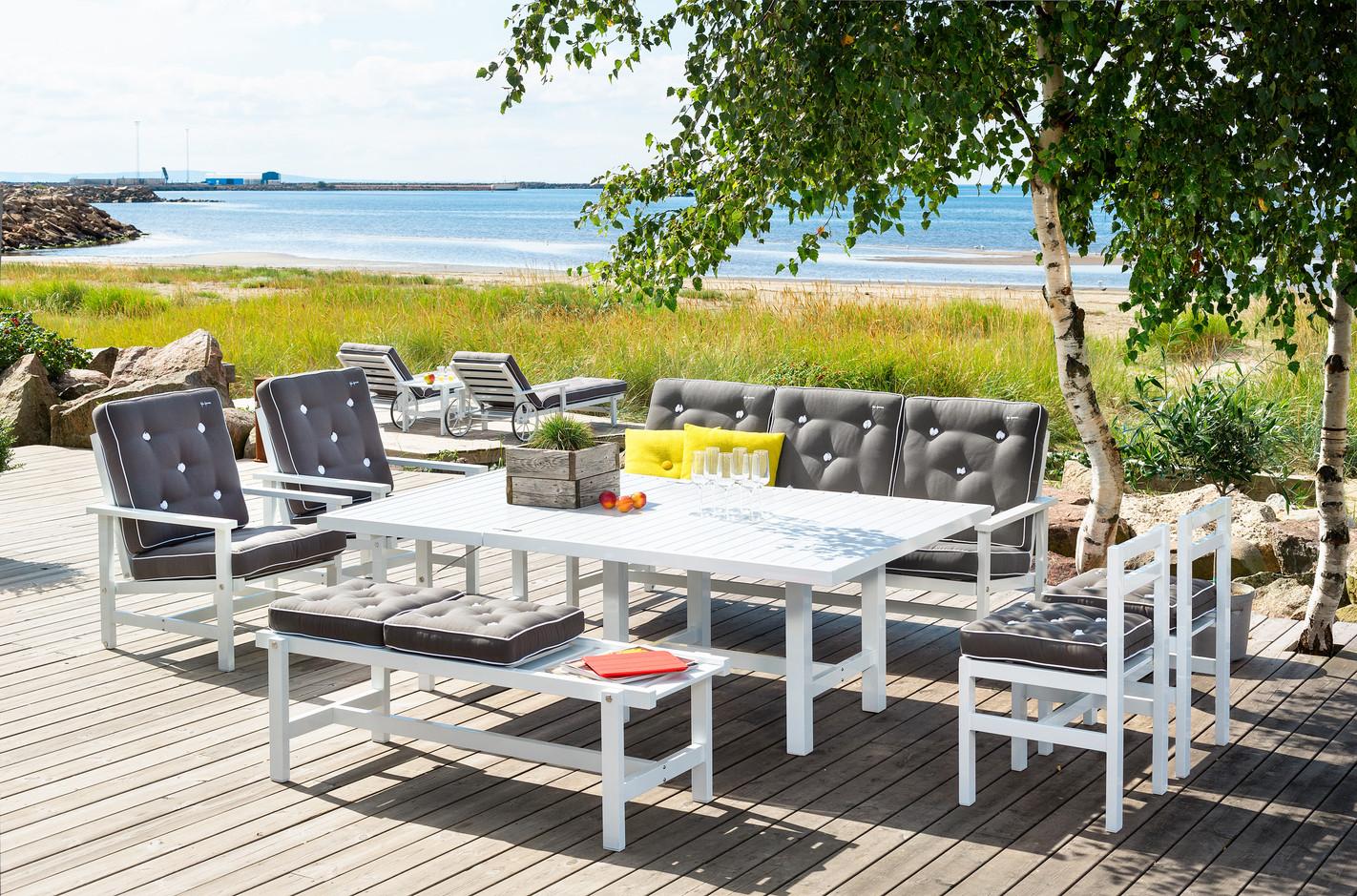 Vit aluminium 3-sits soffa - Bild 1