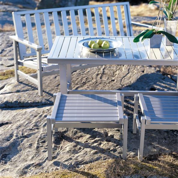 Grå aluminium bord 80x142cm - Bild 1