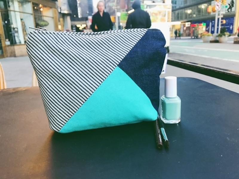 denim makeup bag - blue and aqua