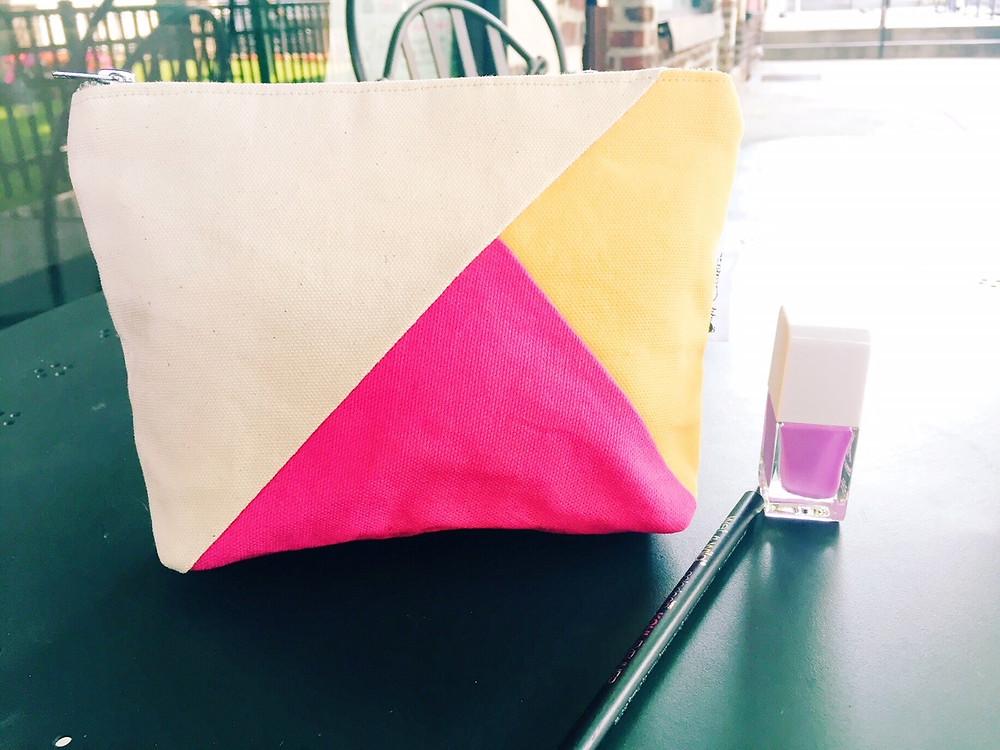 Canvas Makeup Bag - Color Block Handbag - Fuchsia Yellow and Natural Print