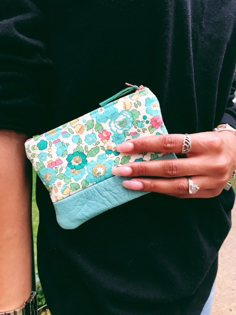Womens Coin Purse - Turquoise Floral Print with leather accent