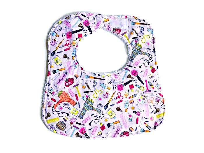 Baby Girl Bibs - Pink Bib with Makeup Print - Handmade Bib