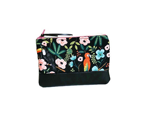 Leather Zipper Pouch - Tropical Birds Print