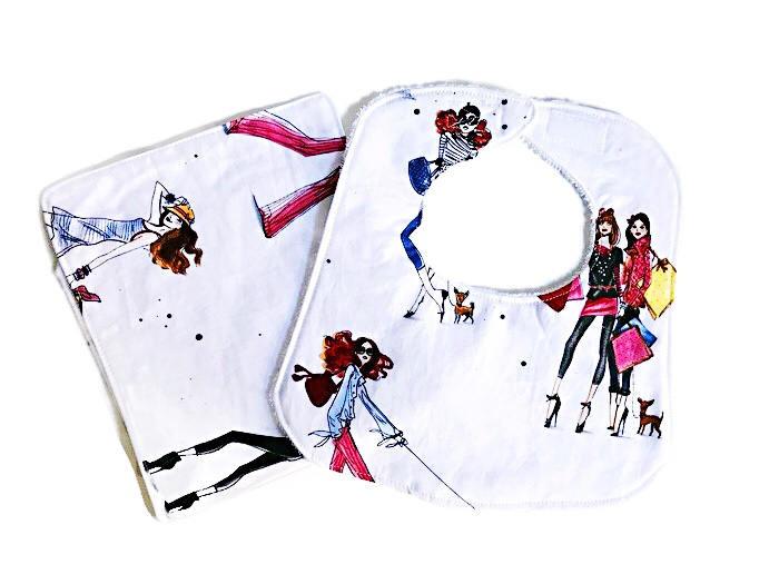 Baby Girl Bib and Burp Cloth Set - Fashion Ladies Print