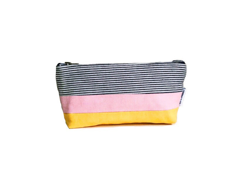 Canvas Zipper Pouch - Striped Blue, Pink and Yellow