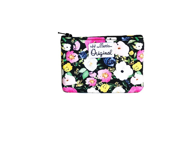 mini coin purse - black floral print