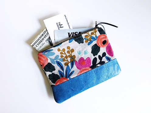 Leather Coin Purse - Blue Floral Rosa