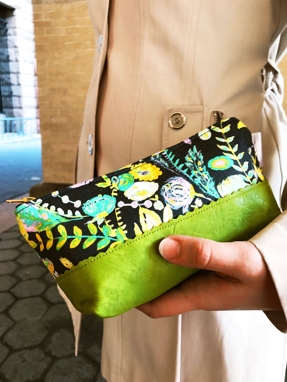 Cosmetic Bags for Purse - green flower print