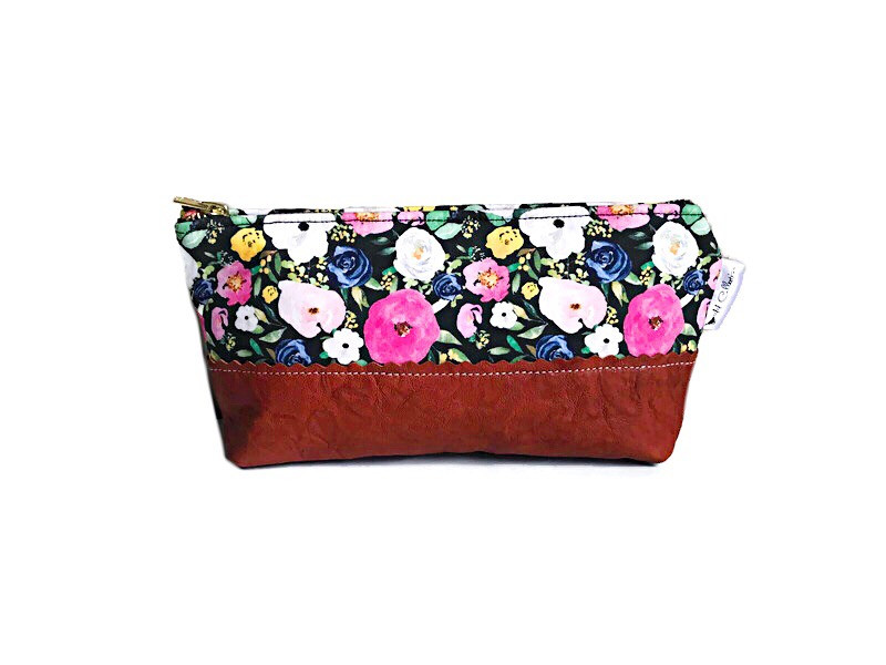Holiday Gift Guide for Her - Floral Black Leather Pouch