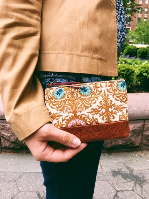 American Made Wallets - Floral Print Brown Leather Coin Wallet