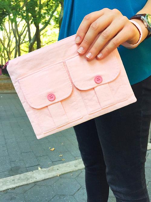 Handmade Handbags - Wristlet Wallet Pink Corduroy - Pink Wristlet Bag