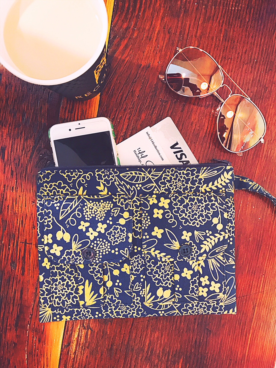 Handmade Wristlet - Blue and Metallic Gold Floral Print