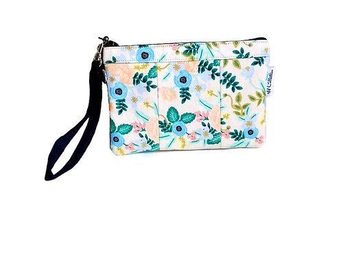 blush floral wristlet purse