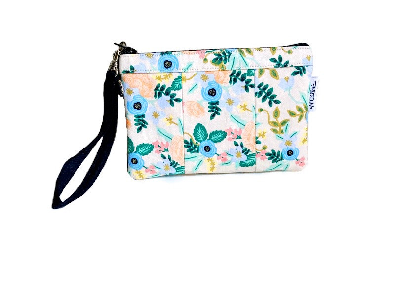 small wristlet purse - blush and blue floral print