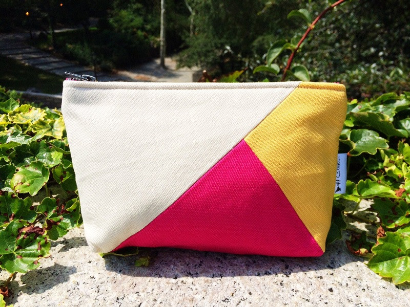 Color Block Bag - natural, yellow and fuchsia