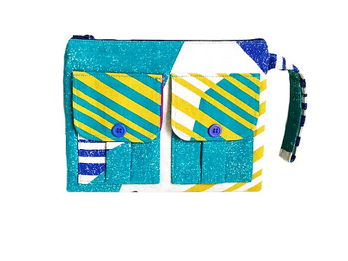 Handmade Wristlet Wallet - Turquoise - Wristlet Purse, Fabric Wristlet
