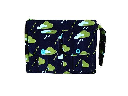 Droplets Navy Blue Corduroy Wristlet Bag