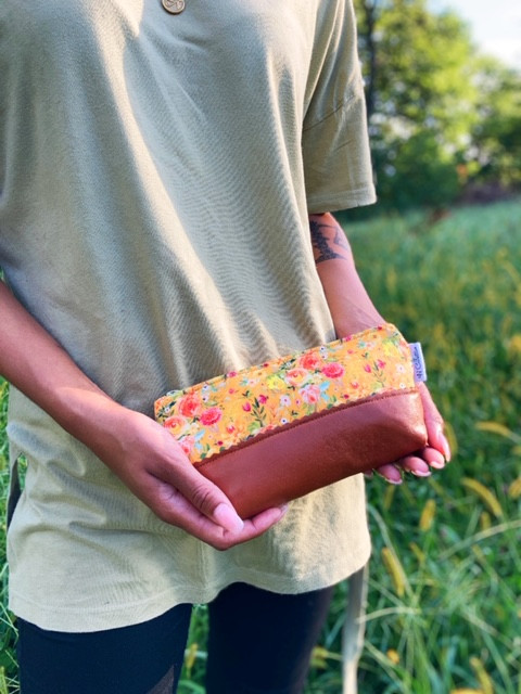 Leather Cosmetic Bag - Yellow Floral Print