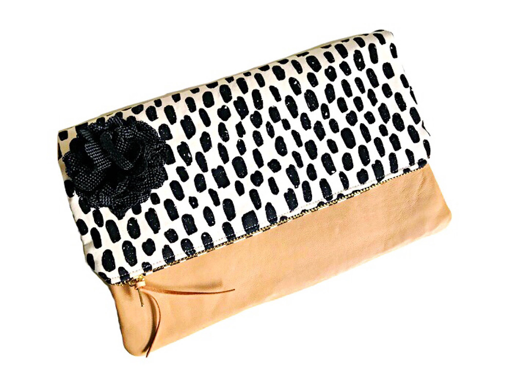 Leather Clutch Bag - Black and White Print