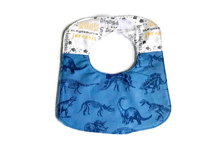 Dinosaur Baby Bibs - Navy Blue and White