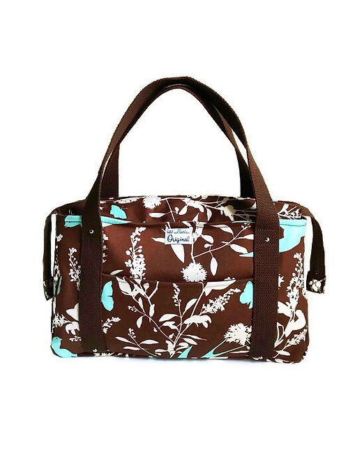 Handmade Bag - Brown Floral Print Tote Bag - Shoulder Bag