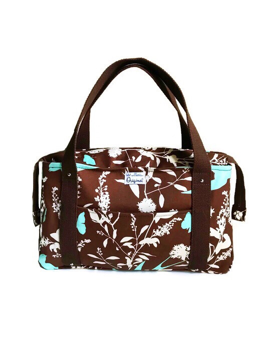 Fabric Handbags Made in the USA - Brown Floral Print Tote Bag