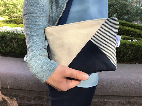 Women's Blue Canvas Cosmetic Pouch