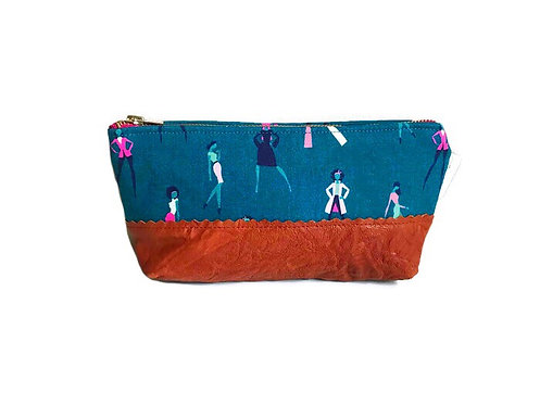 Silhouettes Teal Leather Makeup Bag