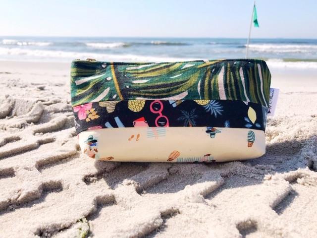 Summer Makeup Bags - Beach Print Bag