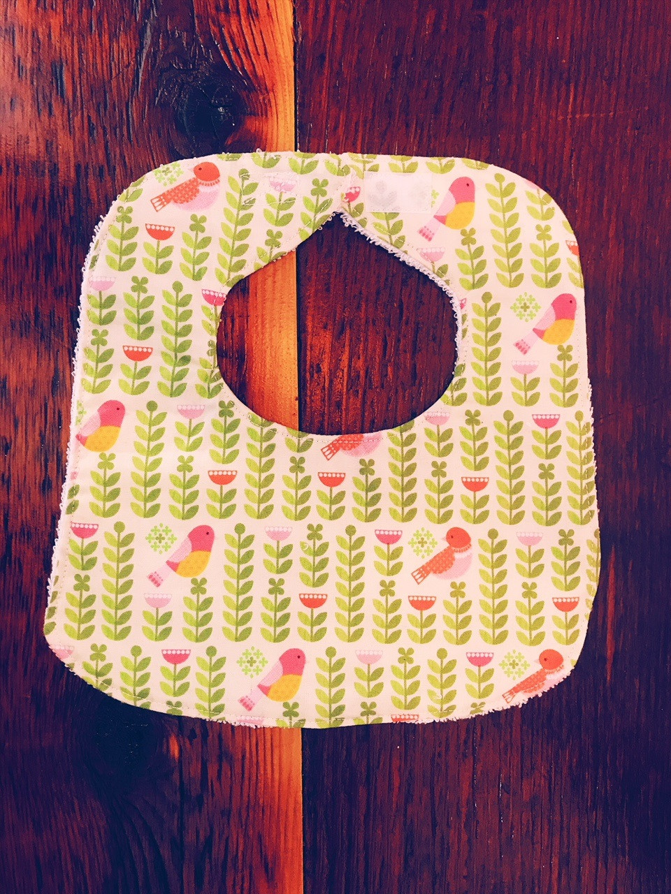 Baby Girl Bib - Floral Green Print