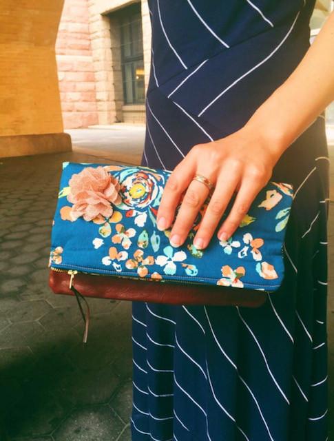 Handmade Clutch  Bag - Teal Floral Print