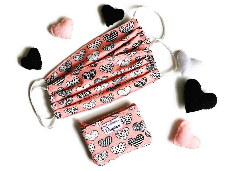 Cotton Mask and Carrying Case - Heart Print Pink