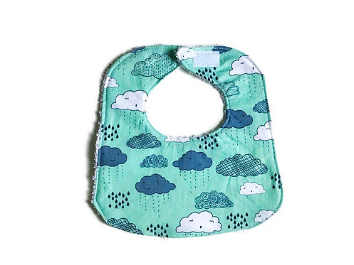 Handmade Baby Bibs and Burp Cloths - Blue Cloud Print