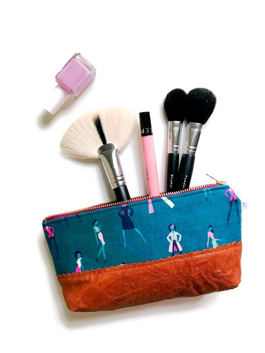 Makeup Bags Made in the USA - Womens Silhouettes in Teal