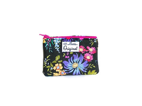 Floral Black Coin Purse Wallet