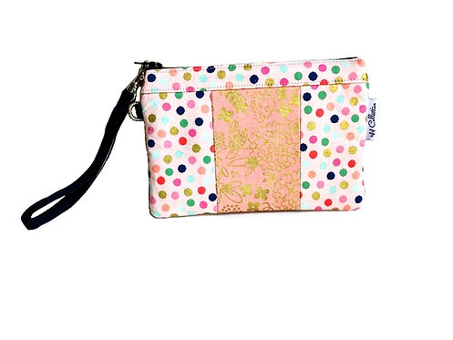 pink polka dot wristlet bag