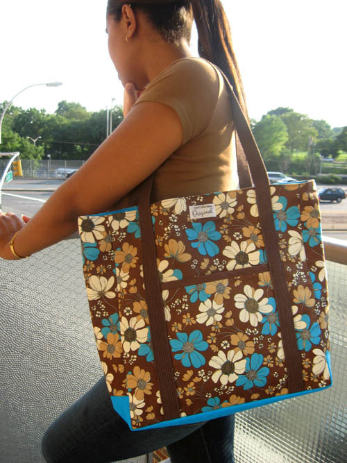 Large Tote Bag - Brown and Turquoise Flowers  Handmade