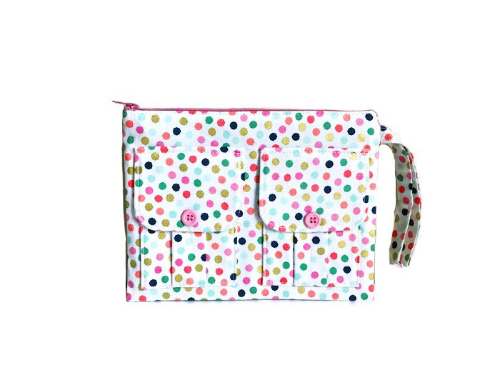 Wristlet Wallet - White with Polka Dots
